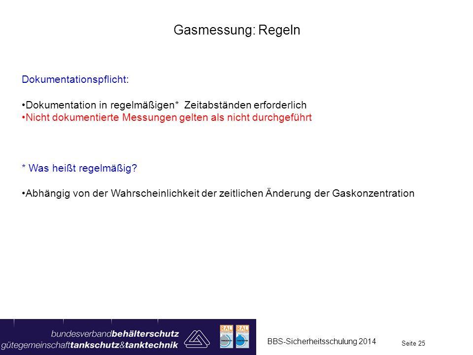Gasmessung: Regeln Dokumentationspflicht: