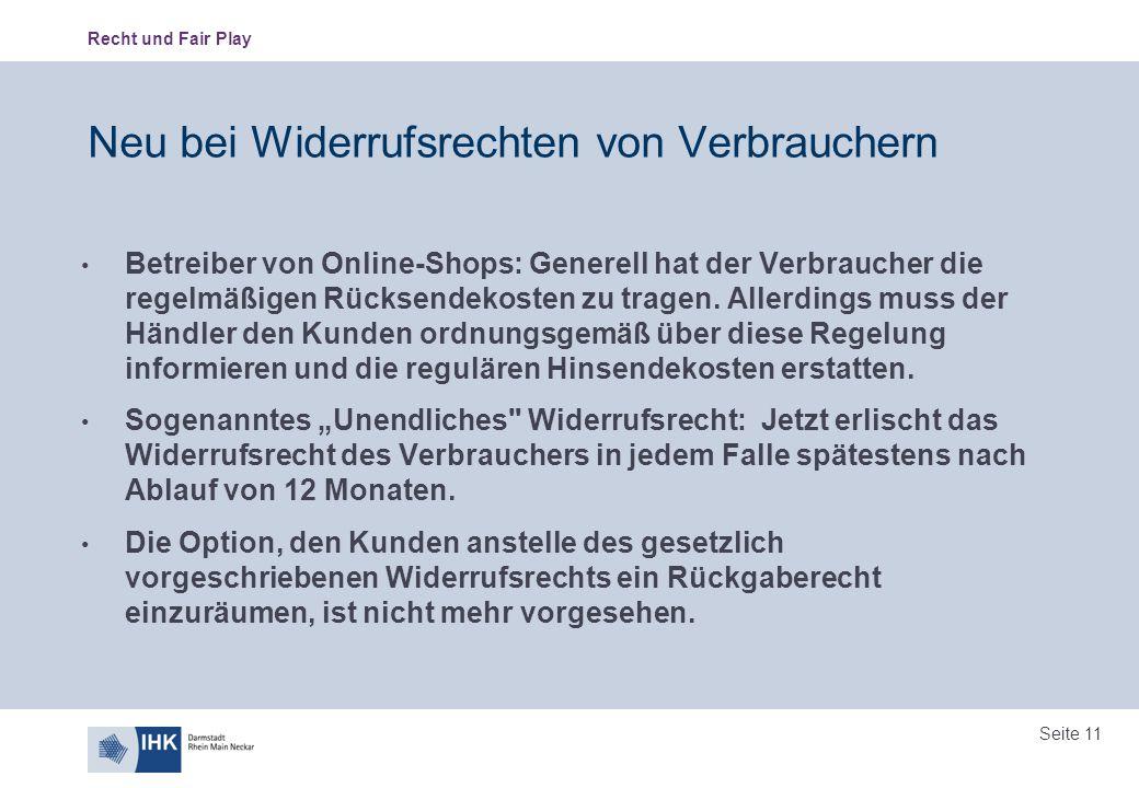 Neu bei Widerrufsrechten von Verbrauchern