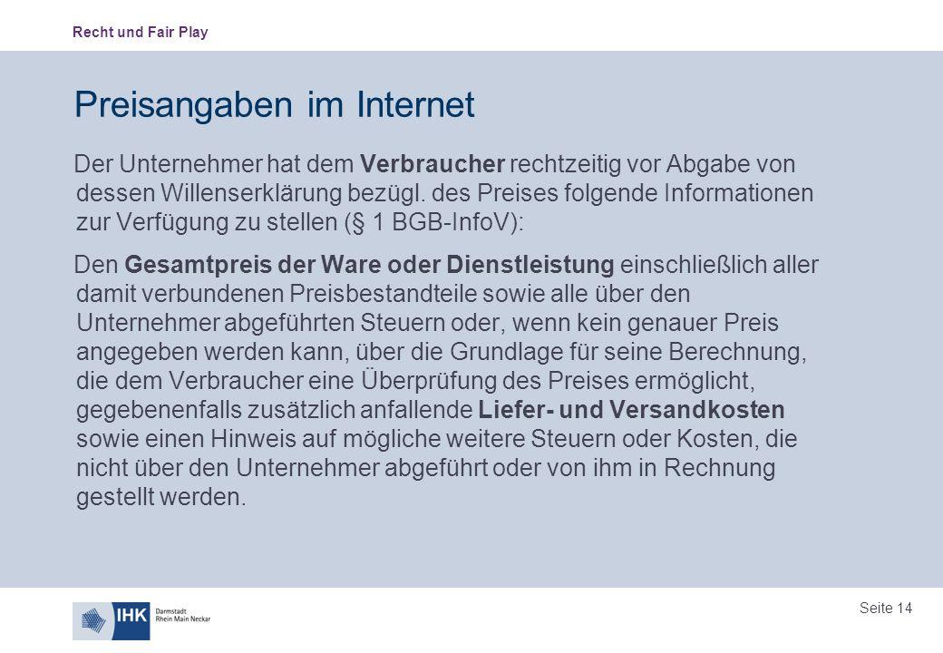 Preisangaben im Internet