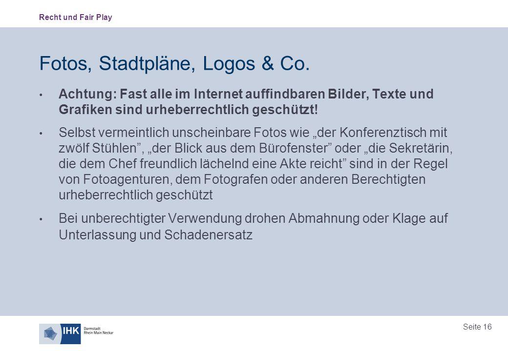 Fotos, Stadtpläne, Logos & Co.