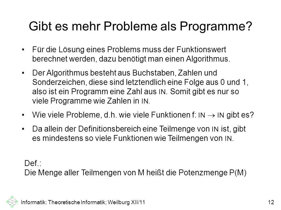 Gibt es mehr Probleme als Programme