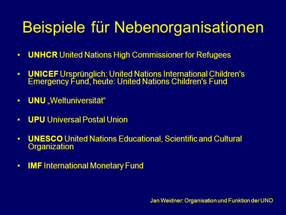Beispiele für Nebenorganisationen