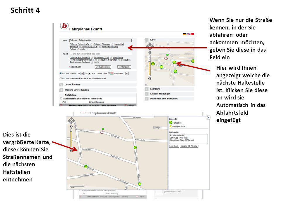 Schritt 4 Wenn Sie nur die Straße kennen, in der Sie abfahren oder ankommen möchten, geben Sie diese in das Feld ein.
