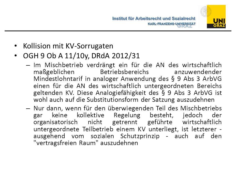 Kollision mit KV-Sorrugaten OGH 9 Ob A 11/10y, DRdA 2012/31