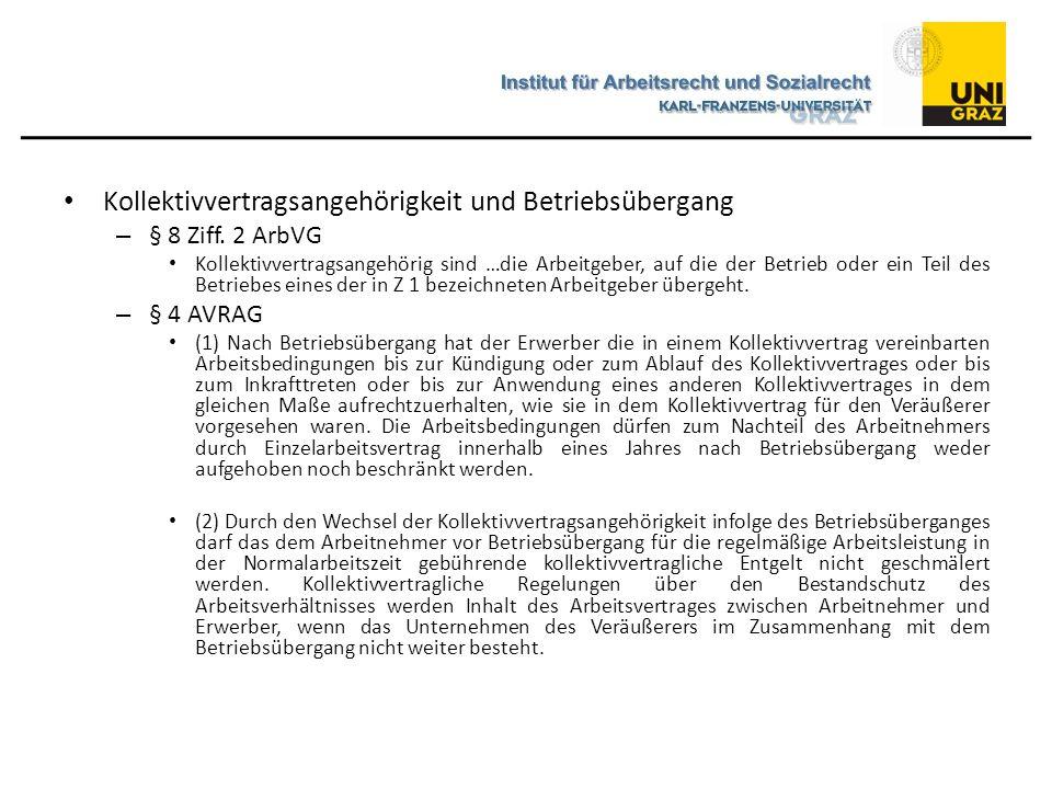 Kollektivvertragsangehörigkeit und Betriebsübergang