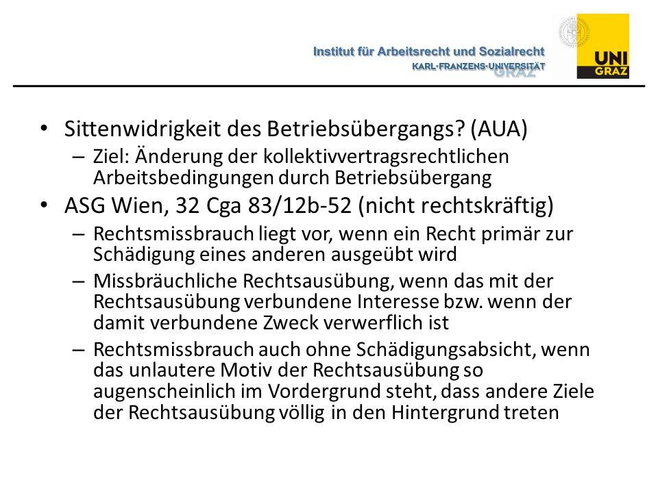 Sittenwidrigkeit des Betriebsübergangs (AUA)