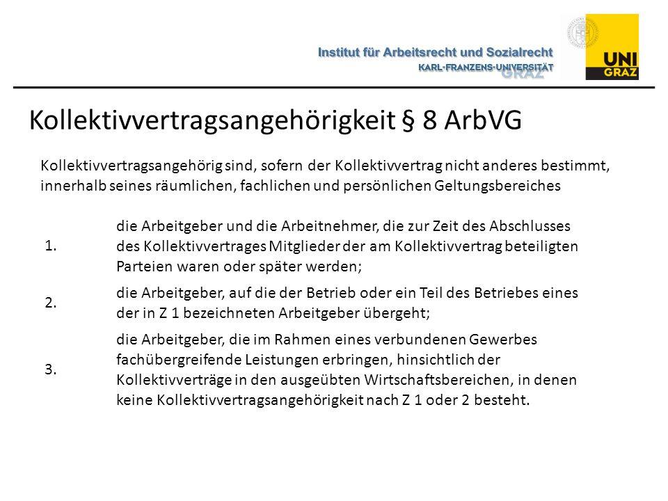 Kollektivvertragsangehörigkeit § 8 ArbVG