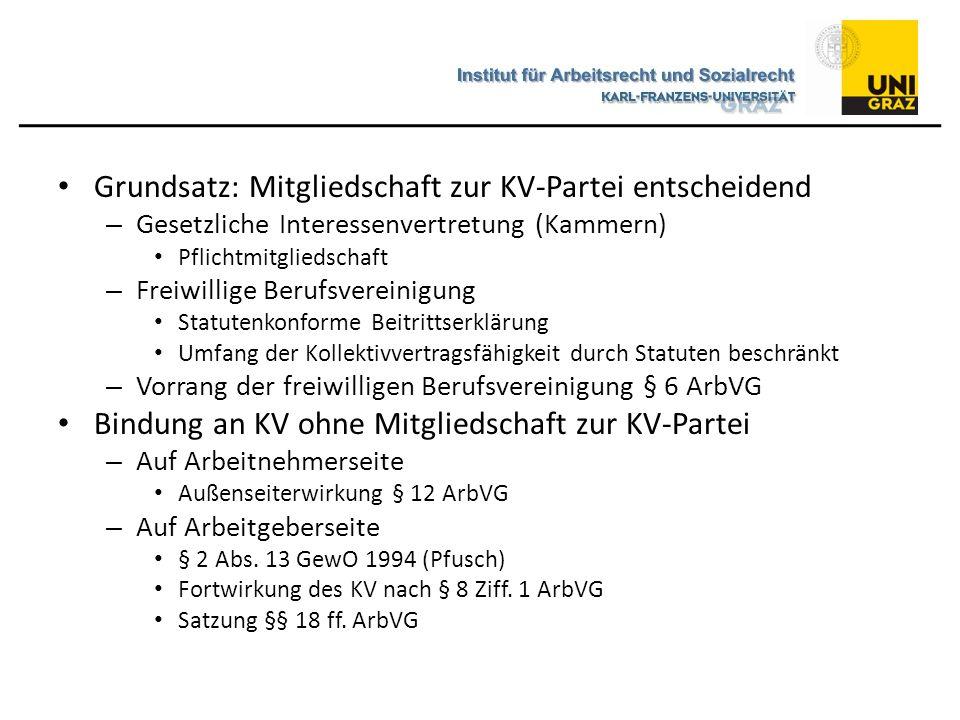 Grundsatz: Mitgliedschaft zur KV-Partei entscheidend