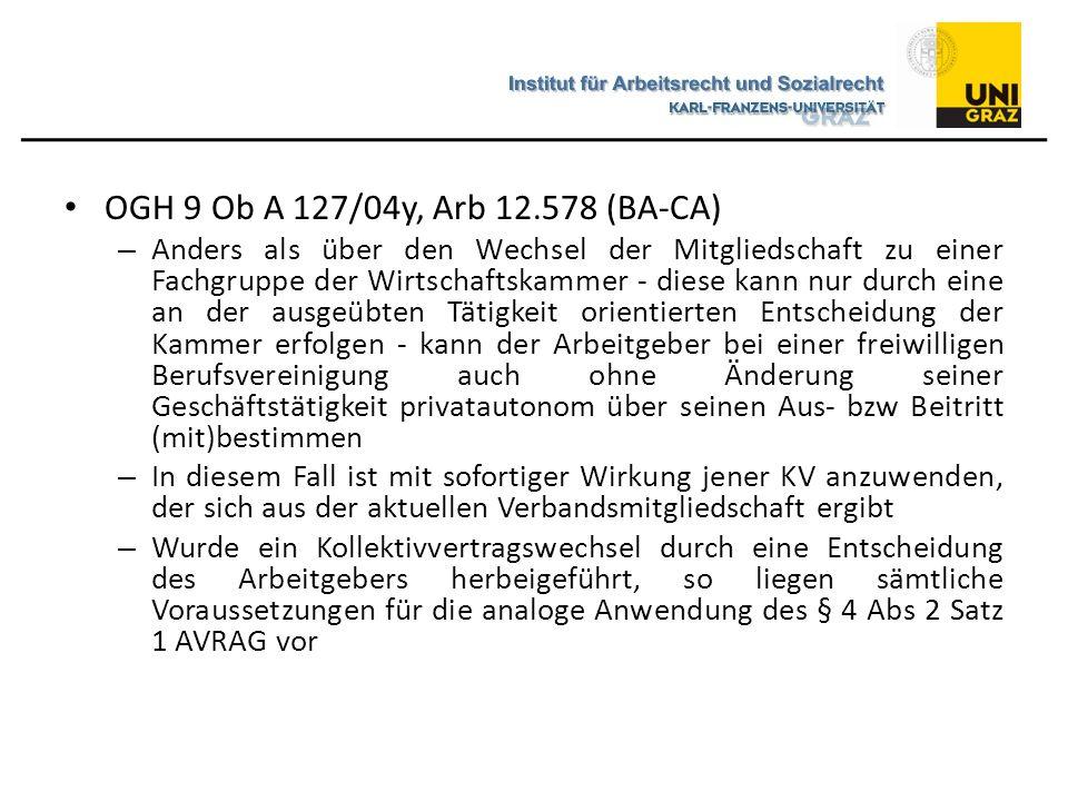 OGH 9 Ob A 127/04y, Arb 12.578 (BA-CA)