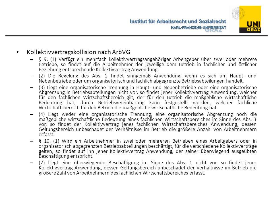 Kollektivvertragskollision nach ArbVG