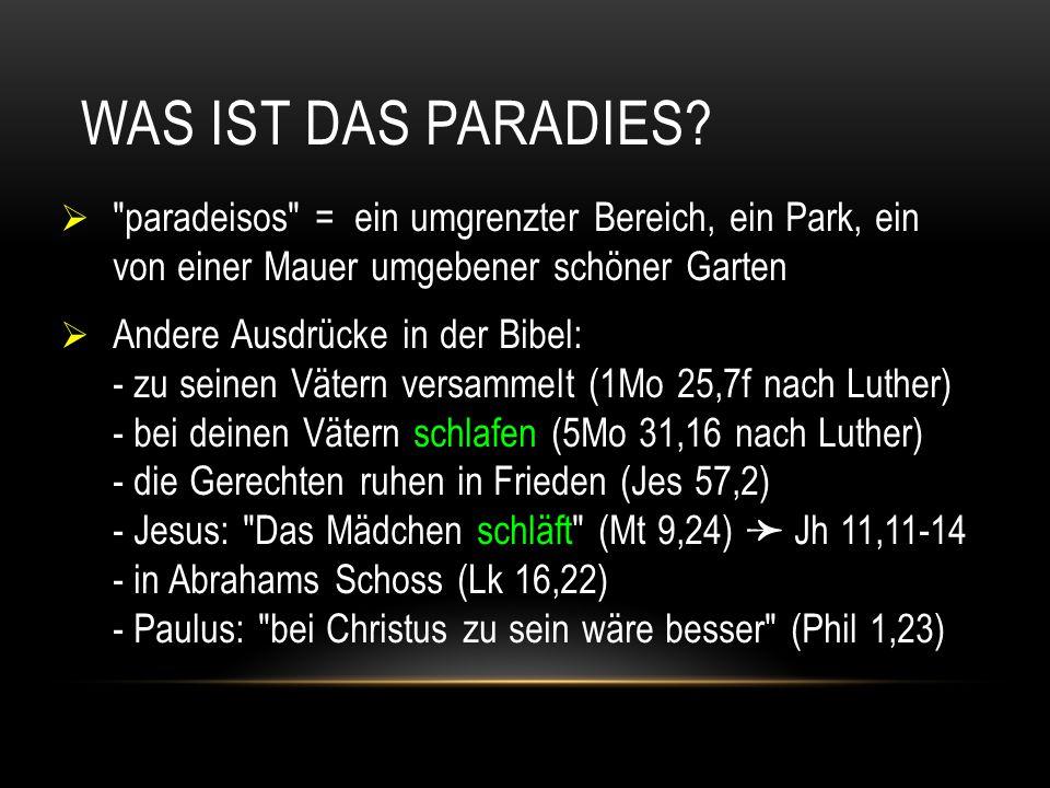 Was ist das Paradies paradeisos = ein umgrenzter Bereich, ein Park, ein von einer Mauer umgebener schöner Garten.