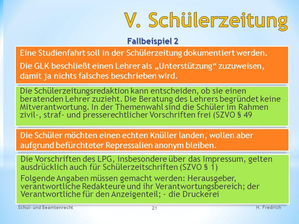V. Schülerzeitung Fallbeispiel 2