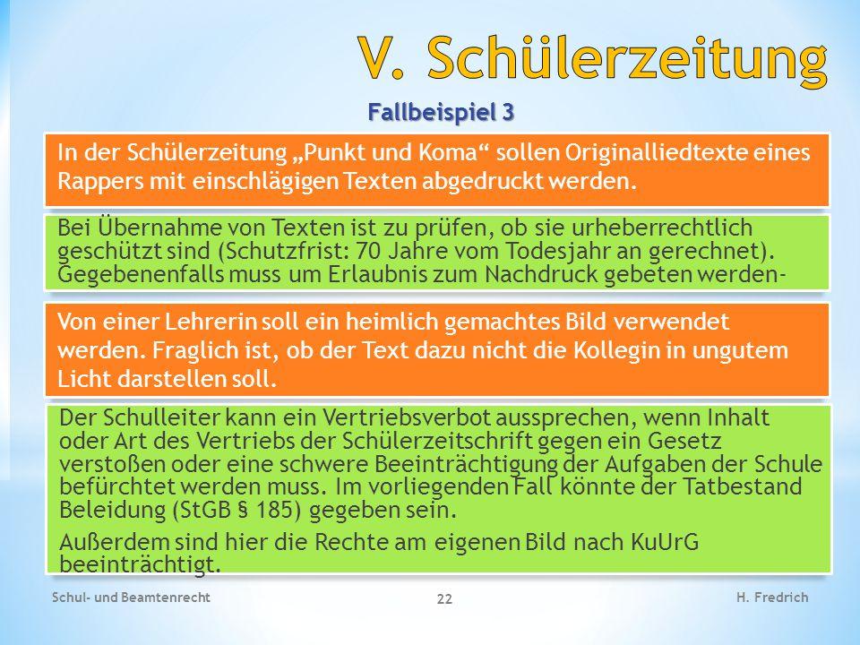 V. Schülerzeitung Fallbeispiel 3