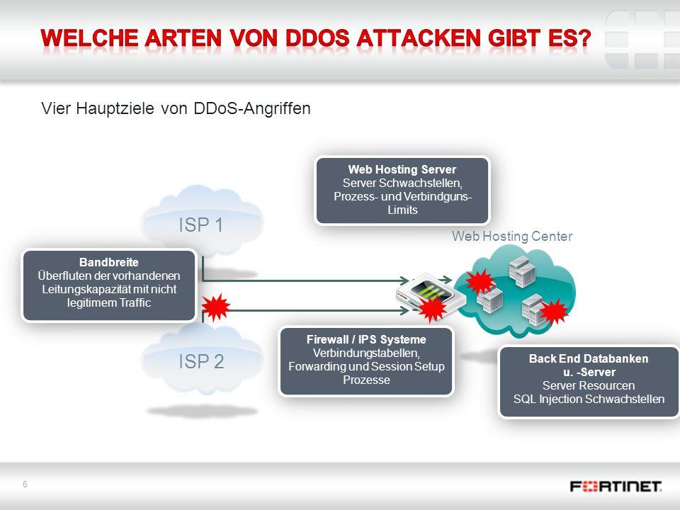 Welche Arten von DDoS Attacken gibt es