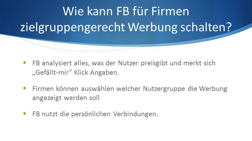 Wie kann FB für Firmen zielgruppengerecht Werbung schalten