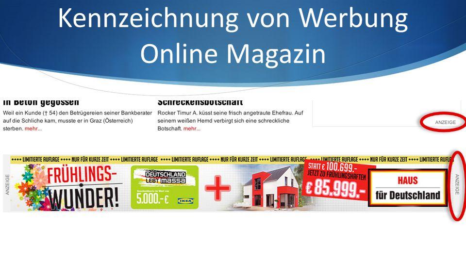 Kennzeichnung von Werbung Online Magazin