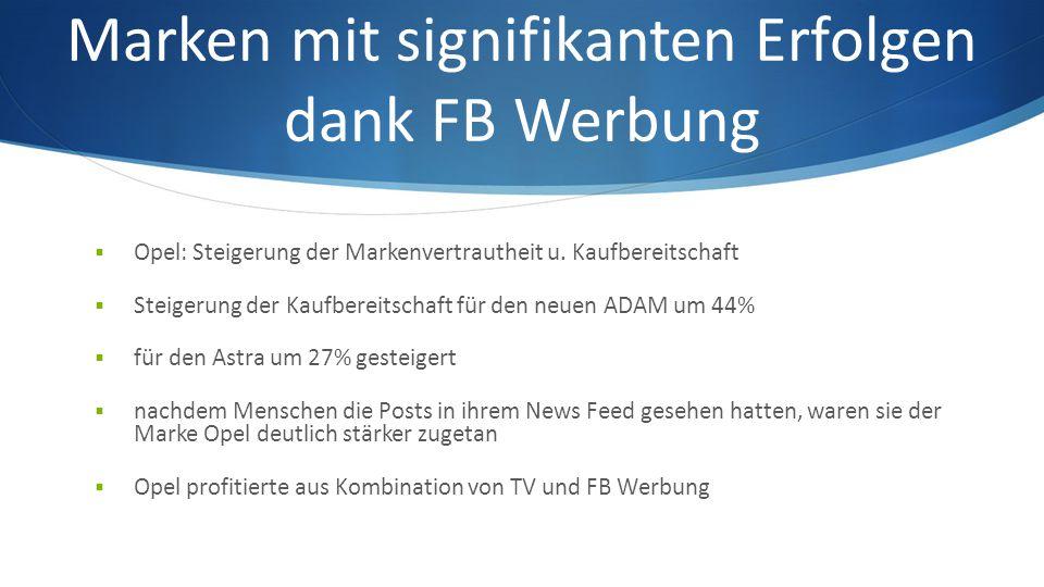 Marken mit signifikanten Erfolgen dank FB Werbung