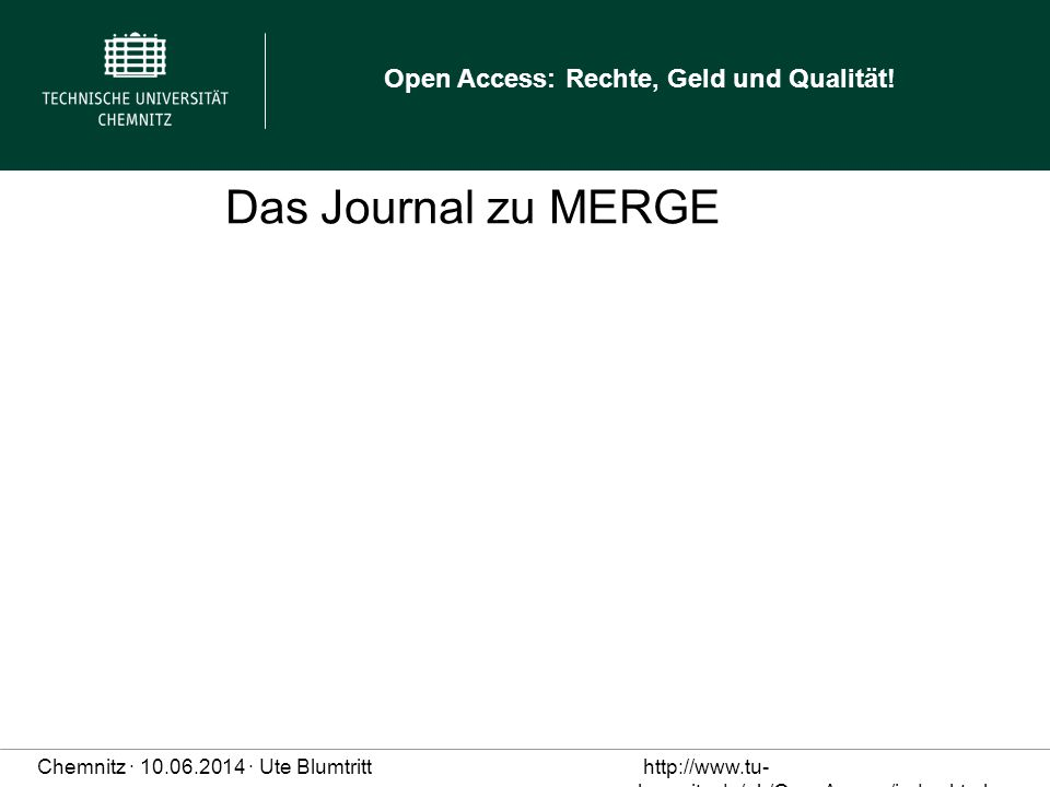 Das Journal zu MERGE