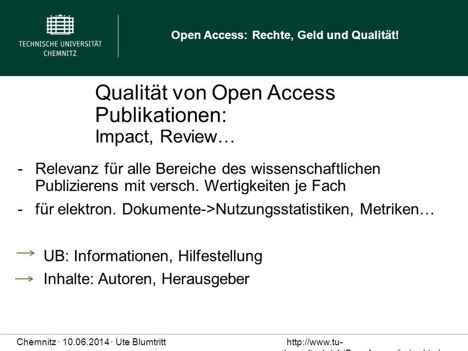 Qualität von Open Access Publikationen: Impact, Review…