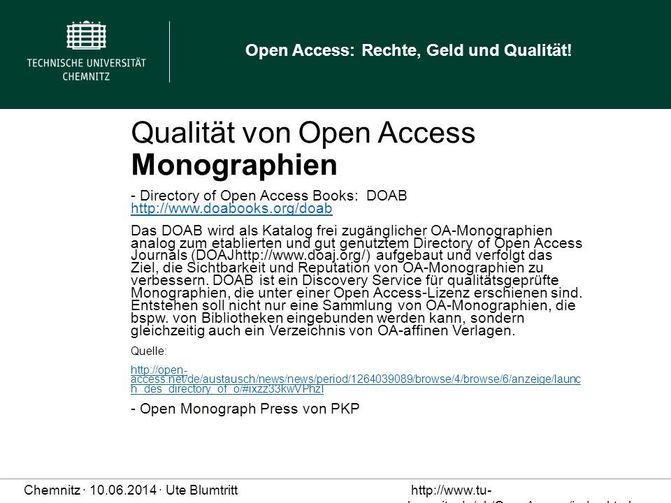 Qualität von Open Access Monographien