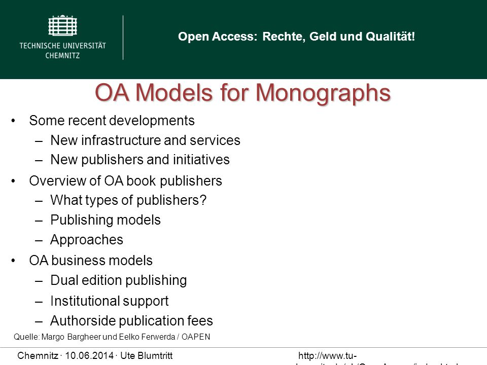 OA Models for Monographs