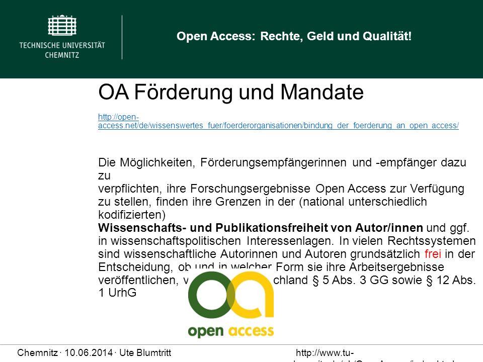 OA Förderung und Mandate http://open-access