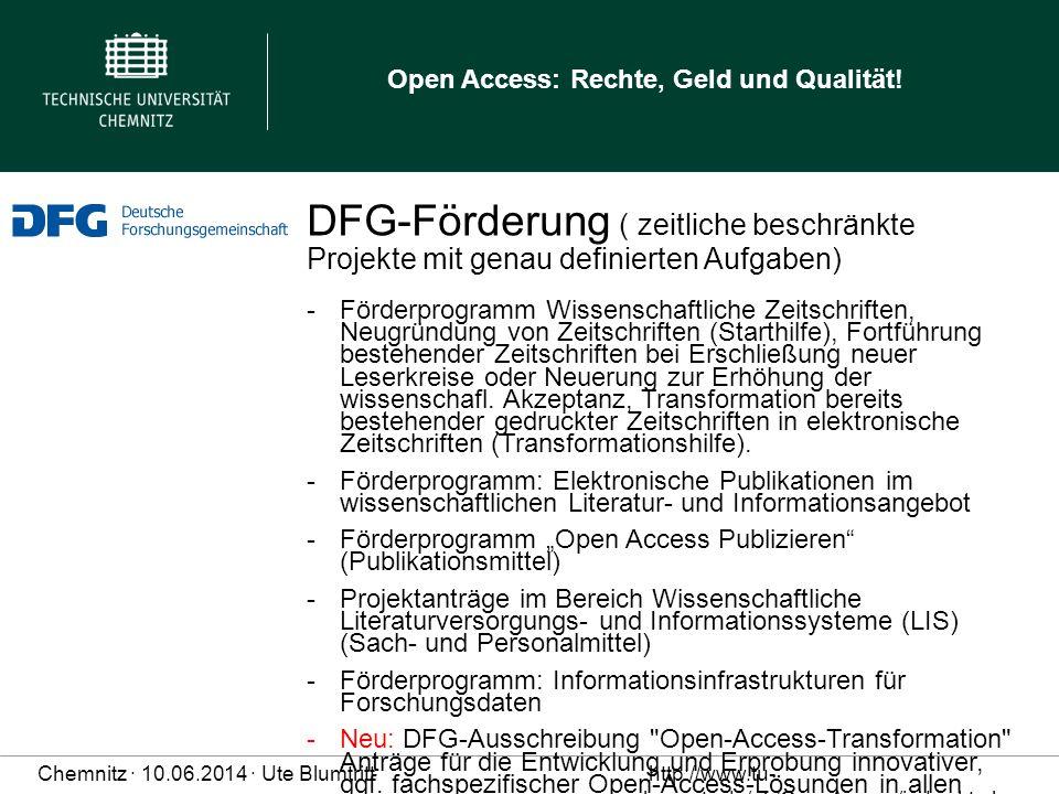 DFG-Förderung ( zeitliche beschränkte Projekte mit genau definierten Aufgaben)