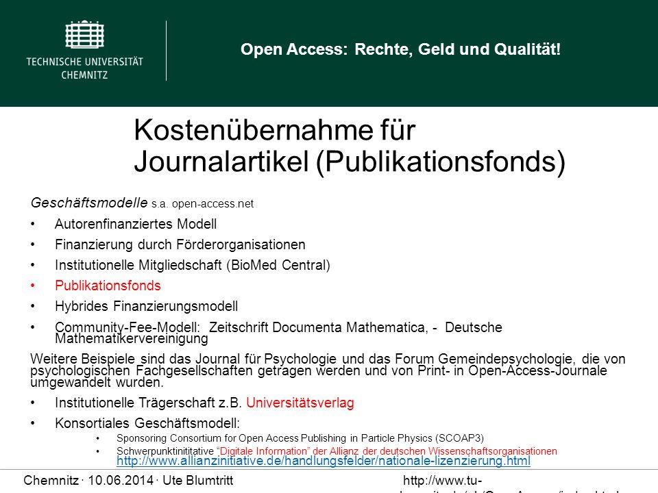 Kostenübernahme für Journalartikel (Publikationsfonds)