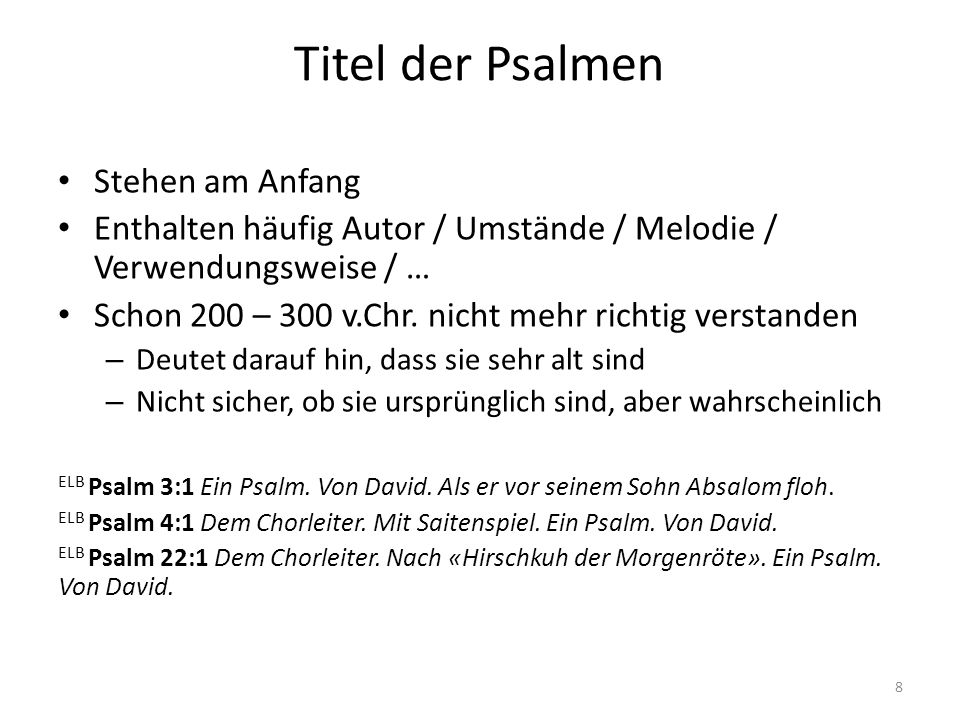 Titel der Psalmen Stehen am Anfang