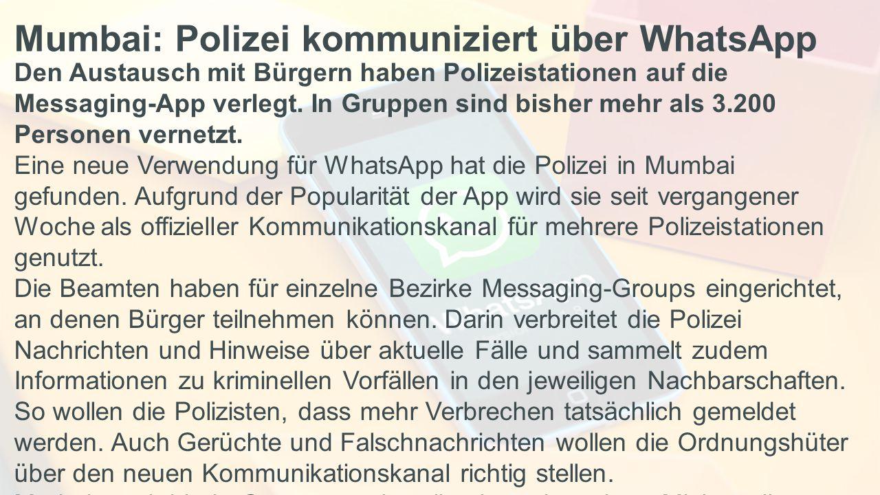 Mumbai: Polizei kommuniziert über WhatsApp