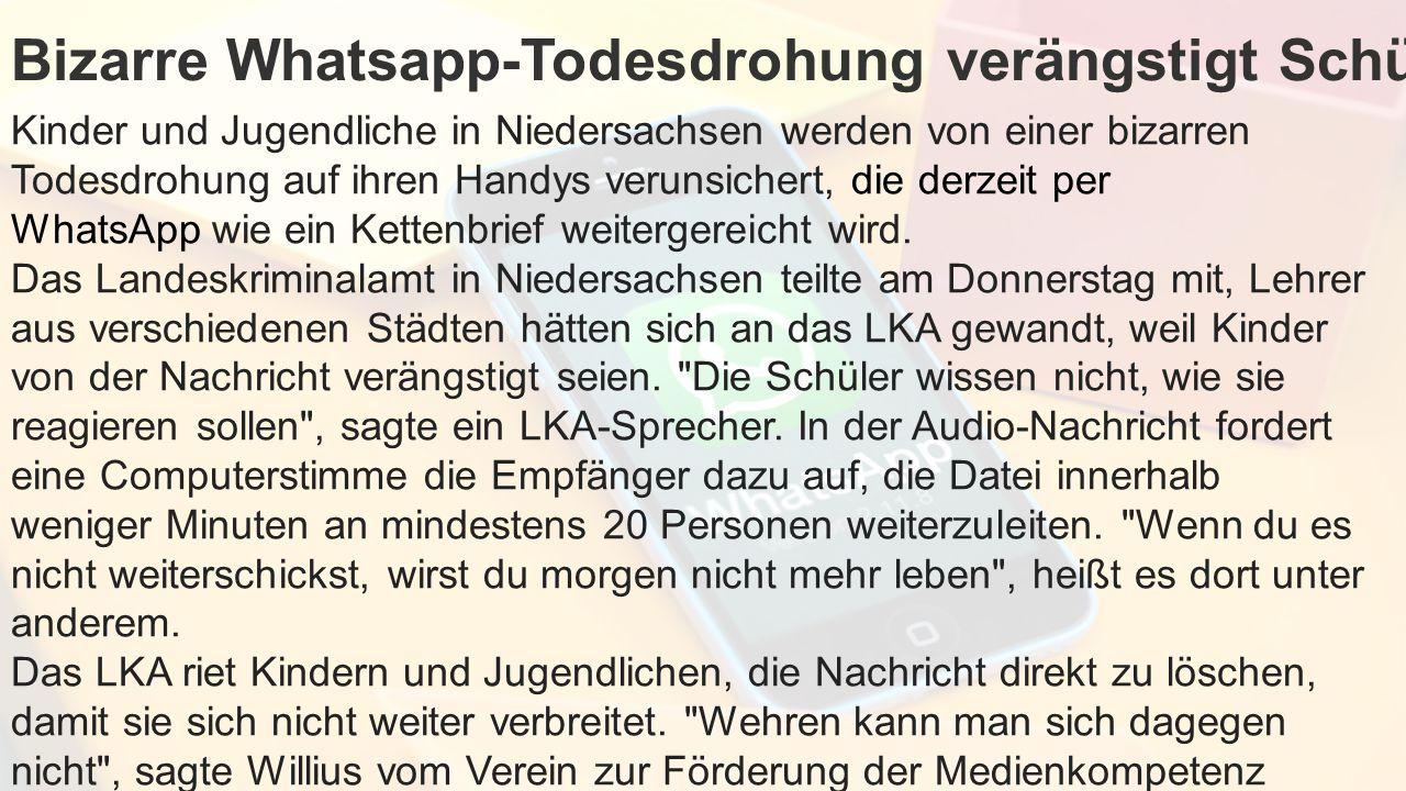 Bizarre Whatsapp-Todesdrohung verängstigt Schüler