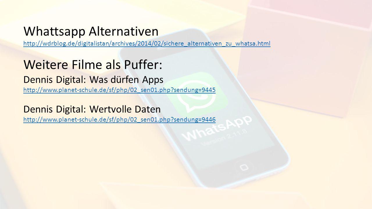 Whattsapp Alternativen Weitere Filme als Puffer: