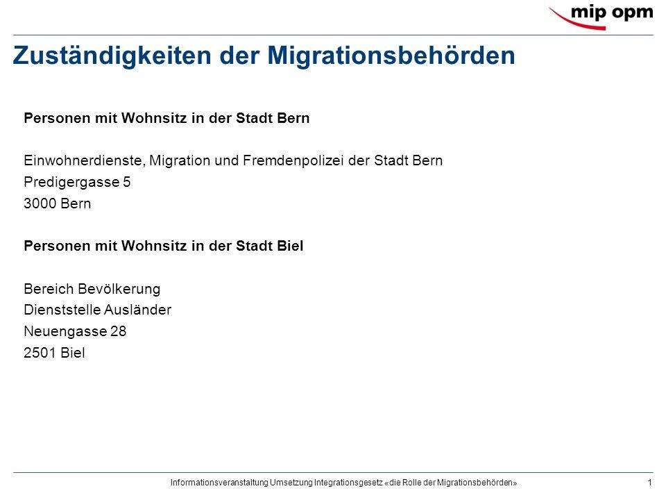 Zuständigkeiten der Migrationsbehörden 2