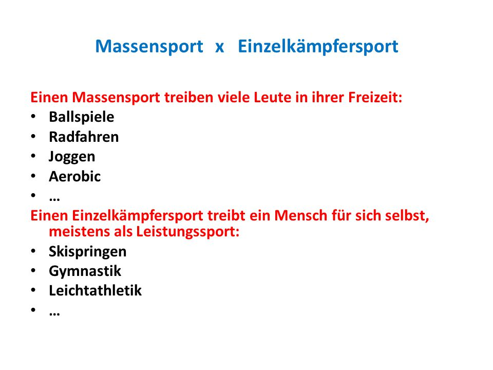 Massensport x Einzelkämpfersport