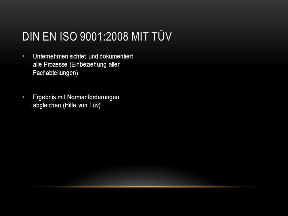 DIN EN ISO 9001:2008 mit Tüv Unternehmen sichtet und dokumentiert alle Prozesse (Einbeziehung aller Fachabteilungen)