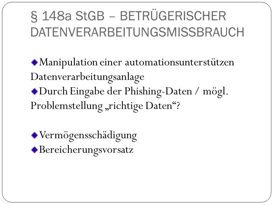§ 148a StGB – BETRÜGERISCHER DATENVERARBEITUNGSMISSBRAUCH