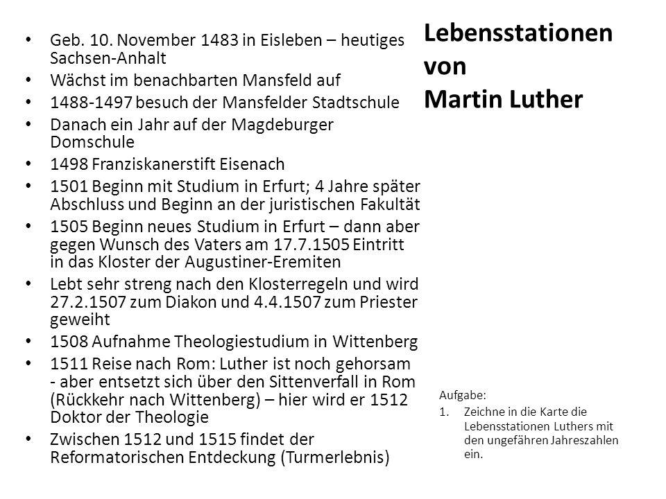 Lebensstationen von Martin Luther