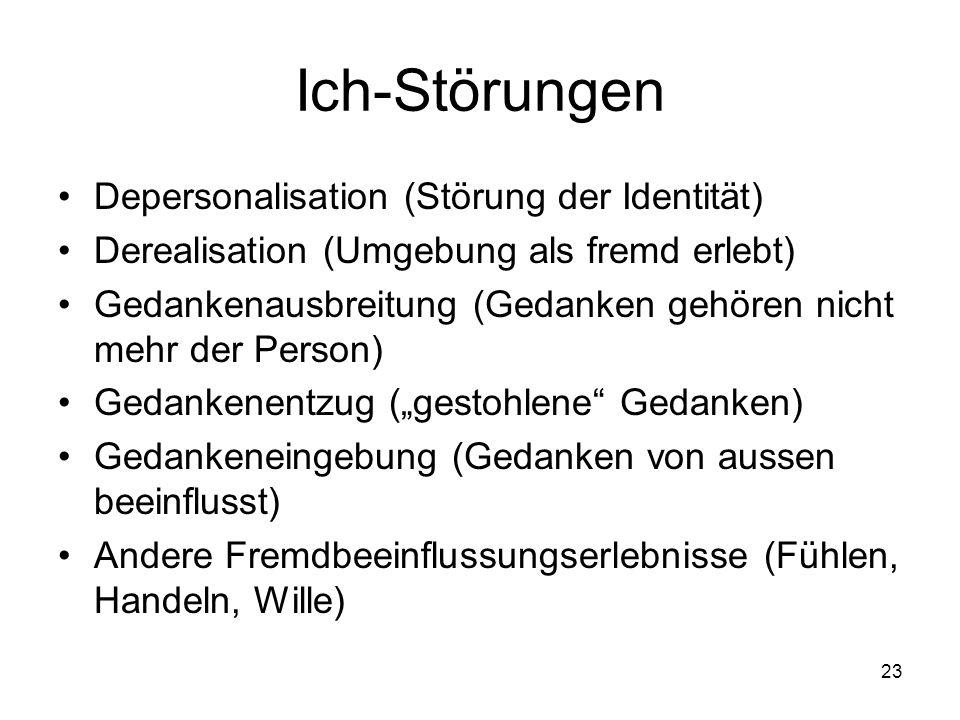 Ich-Störungen Depersonalisation (Störung der Identität)