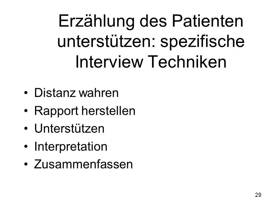 Erzählung des Patienten unterstützen: spezifische Interview Techniken