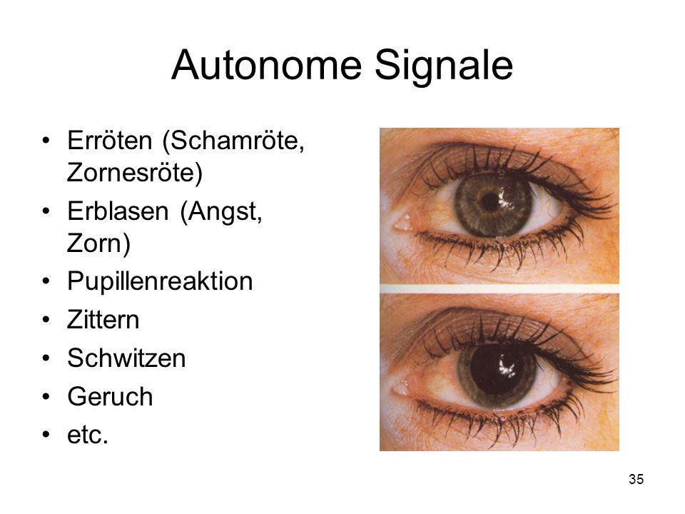 Autonome Signale Erröten (Schamröte, Zornesröte)