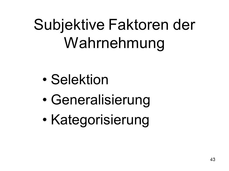 Subjektive Faktoren der Wahrnehmung