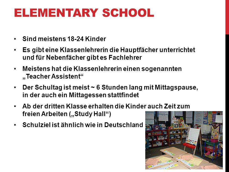 Elementary School Sind meistens 18-24 Kinder