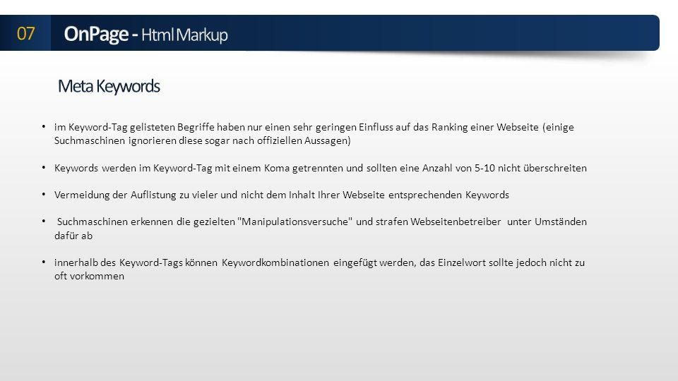 OnPage - Html Markup 07 Meta Keywords