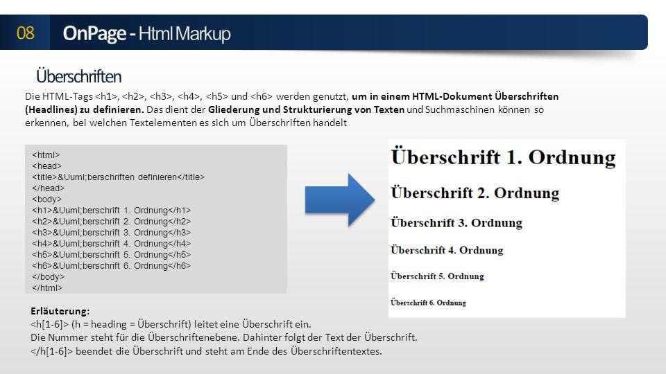 OnPage - Html Markup 08 Überschriften
