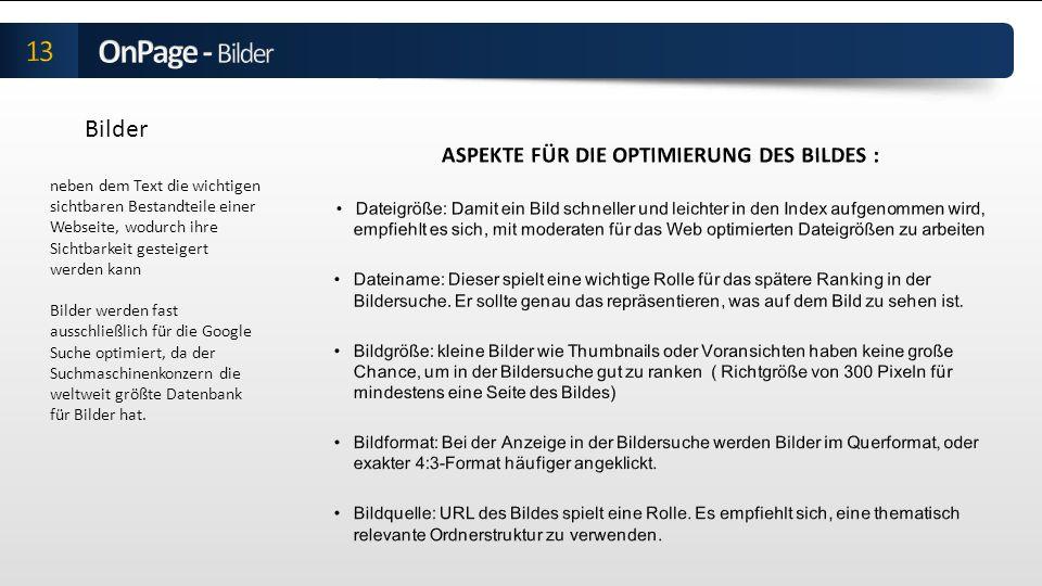 ASPEKTE FÜR DIE OPTIMIERUNG DES BILDES :