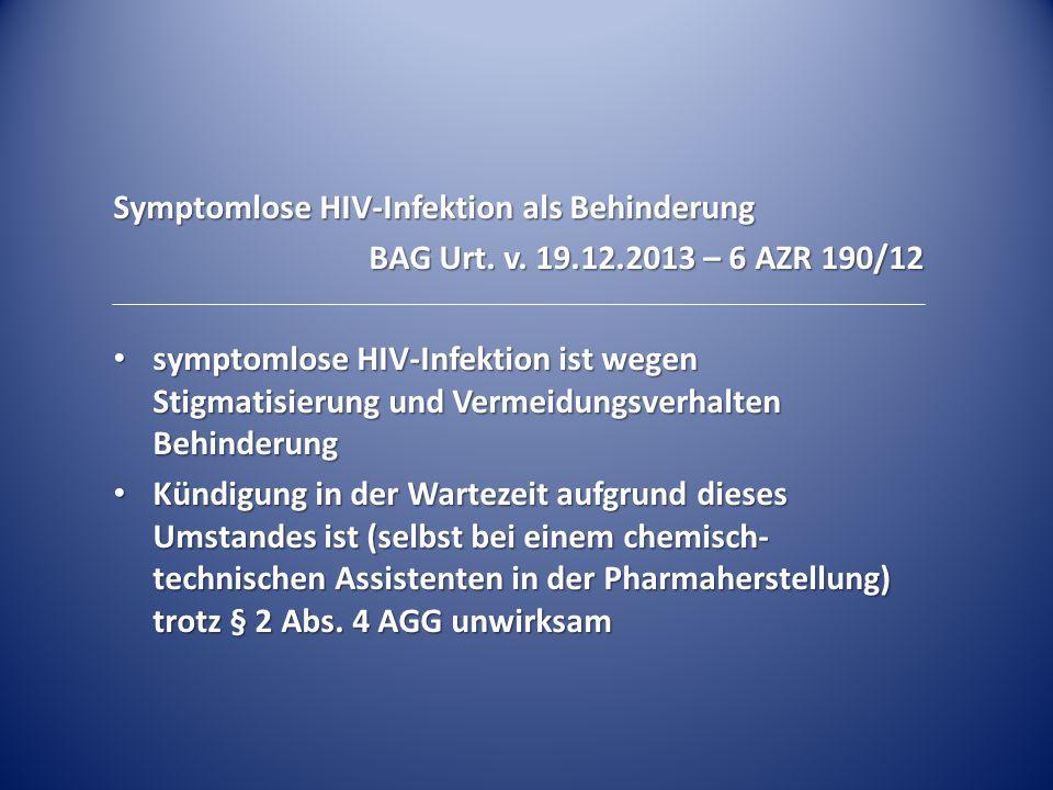 Symptomlose HIV-Infektion als Behinderung