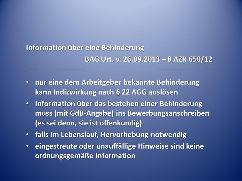Information über eine Behinderung