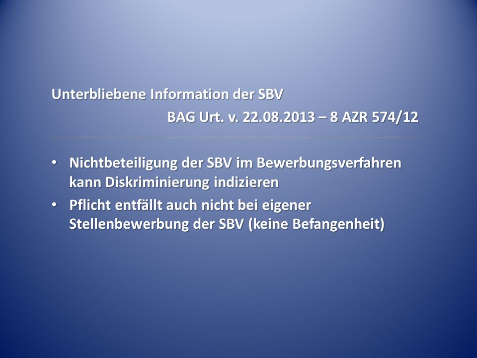 Unterbliebene Information der SBV