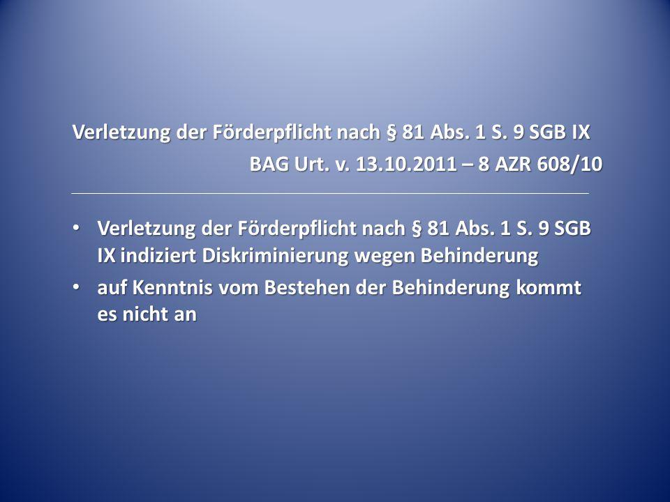 Verletzung der Förderpflicht nach § 81 Abs. 1 S. 9 SGB IX