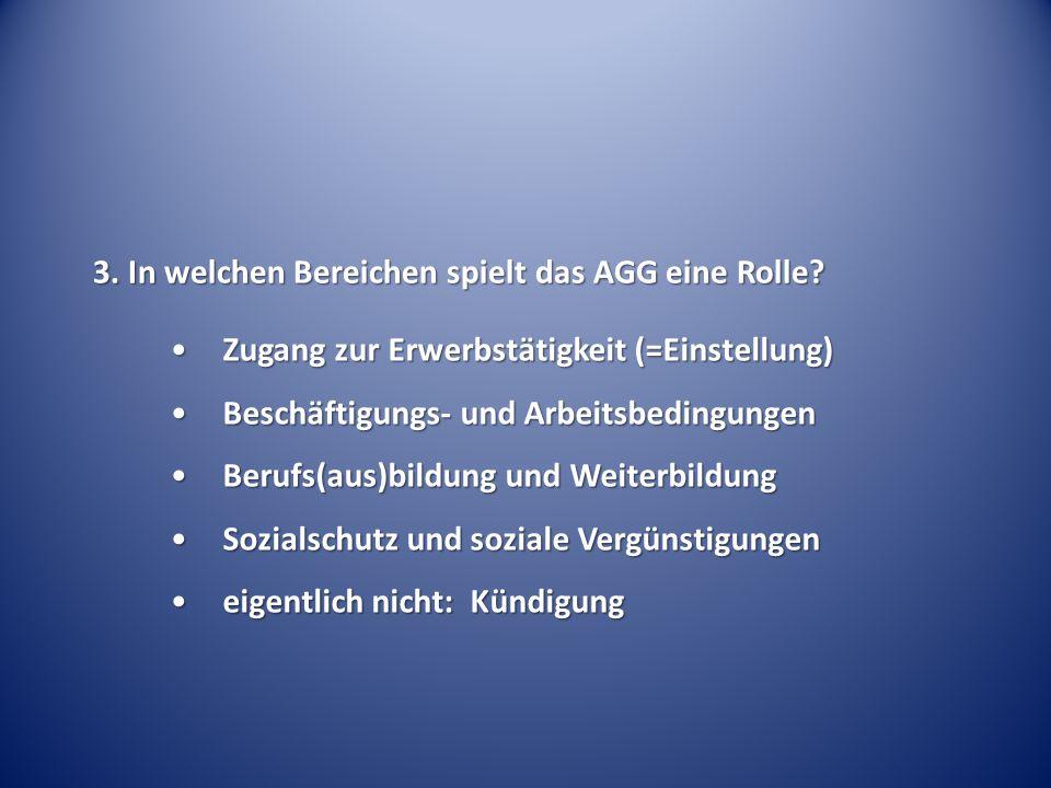 3. In welchen Bereichen spielt das AGG eine Rolle
